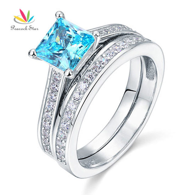 Peacock Star 1.5 Ct Princess Cut Blue Created Diamond Solid 925 Sterling Silver 2-Pcs Engagement Wedding Ring Set CFR8196S
