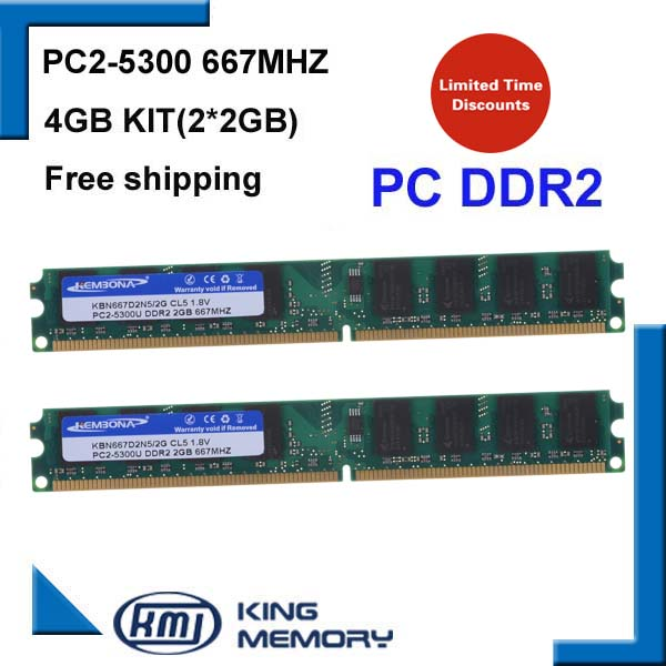 KEMBONA best price PC DESKTOP DDR2 4GB kit(2*DDR2 2GB) 667MHZ PC5300 LONGDIMM 8bits work for all intel and for A-M-D motherboard kembona for intel and for a m d pc desktop ddr2 2gb 4gb 1gb ram memoryddr2 800 667 533 mhz pc ddr2 1g 2g 4g