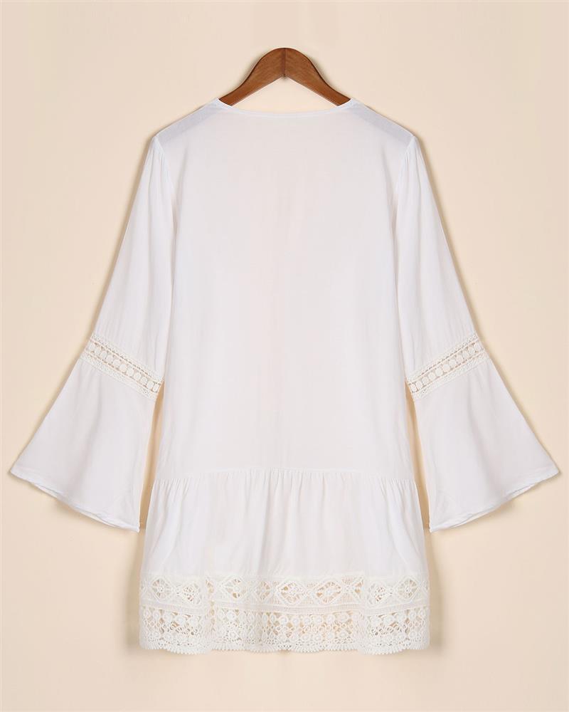 2017 bohemian style kobiety lato white dress sexy dorywczo v szyi 3/4 flare rękaw koronki szydełko loose mini sukienki plażowe vestidos 9