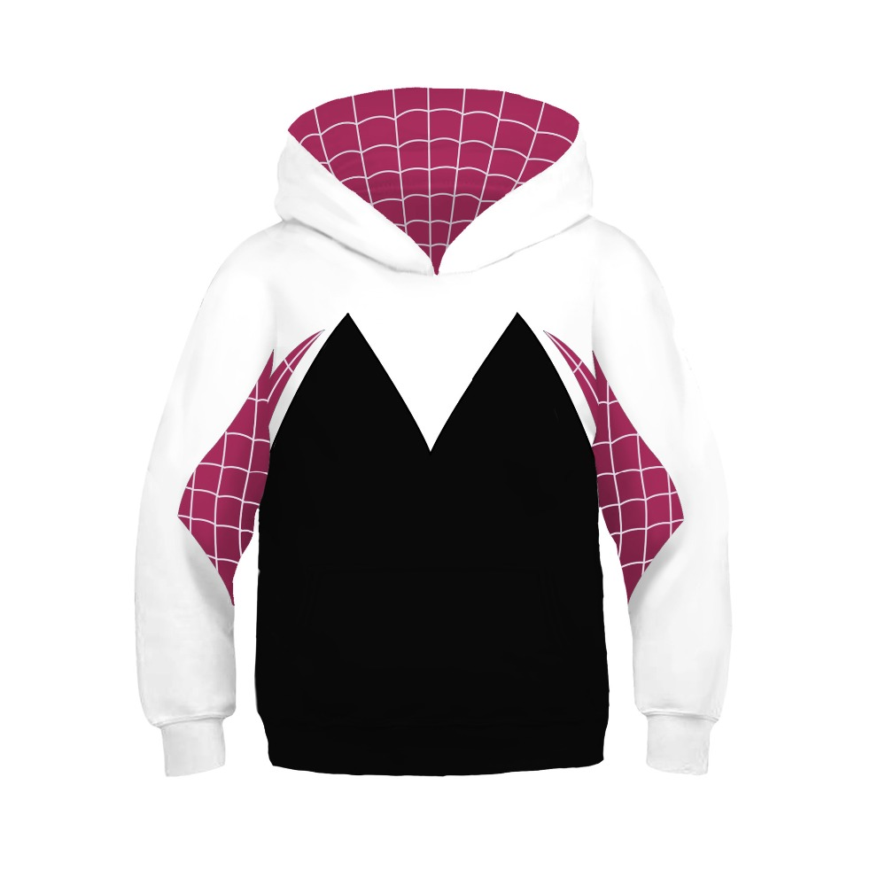 Kids Boys Girls 3D Printed Hooded Naruto Hoodies Spider-man Gwen Cosplay Sweatshirts Iron Spider man Pullover Costumes Children