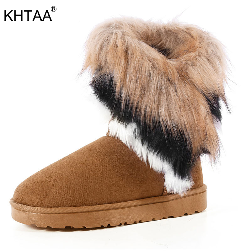 KHTAA Suede Women Snow Boots Sewing Slip-On Mid Calf Winter Boots Female Faux Fur Warm Flat Shoes Tassels Edging Footwear double buckle cross straps mid calf boots