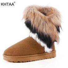 KHTAA Suede Women Snow Boots Sewing Slip-On Mid Calf Winter Boots Female Faux Fur Warm Flat Shoes Tassels Edging Footwear