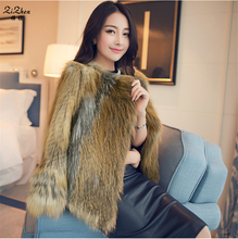 Genuine Natural Red Fox Fur Coats For Women Autumn Winter Knitted Real Sliver Fox Fur Outerwear Fashion Jacket Pockets 160728-2