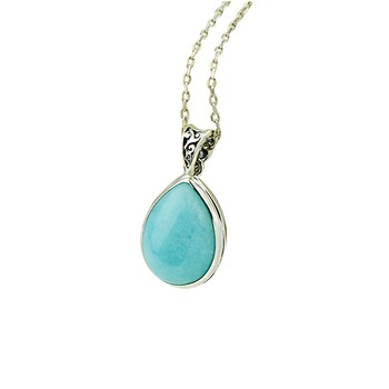 New Natural Water Drop Amazonite Real 925 Silver Pendnat For Women Vintage Style Silver Pendant Necklace Fine Jewelry