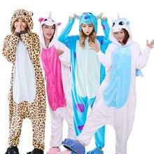 Warm Flanel Pyjama Volwassenen Dier Pyjama Sets Cartoon Eenhoorn Panda Stitch Halloween Nachtkleding Cosplay Voor Vrouwen Mannen Onsies
