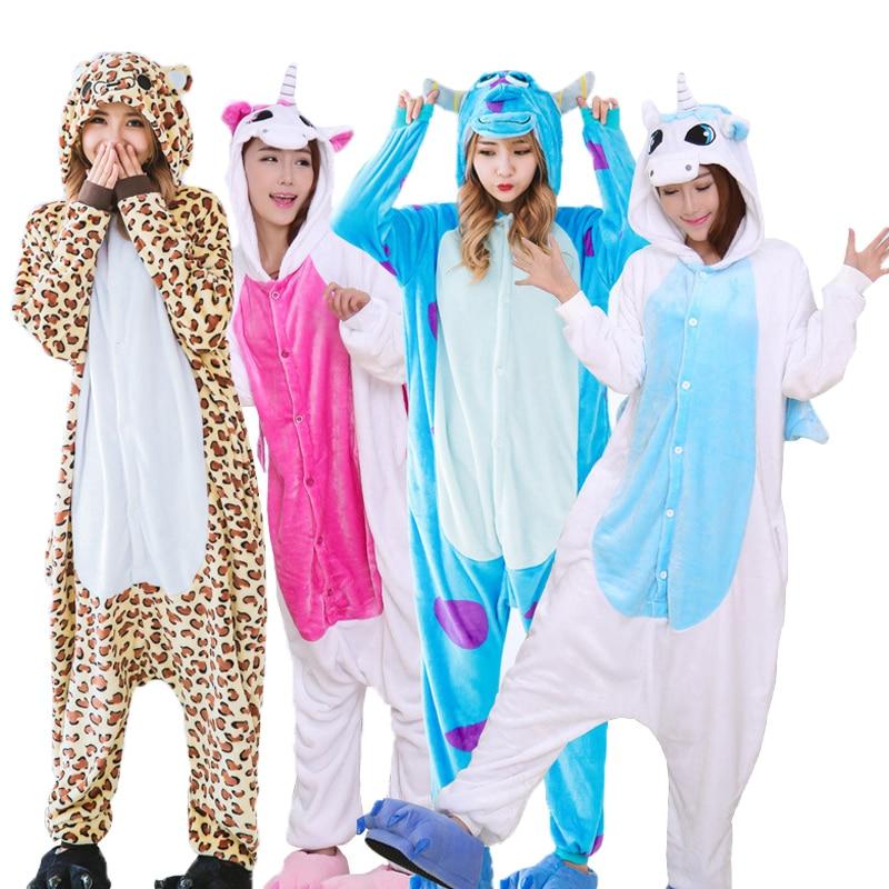 Warm Flannel Pajamas Adults Animal Pajamas Sets Cartoon Unicorn Panda Stitch  Halloween Sleepwear Cosplay For Women Men Onsies