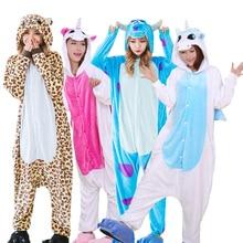Warme Flanell pyjamas Erwachsene Tier Pyjamas Sets Cartoon Einhorn Panda Stich Halloween Nachtwäsche Cosplay für Frauen Männer Onsies