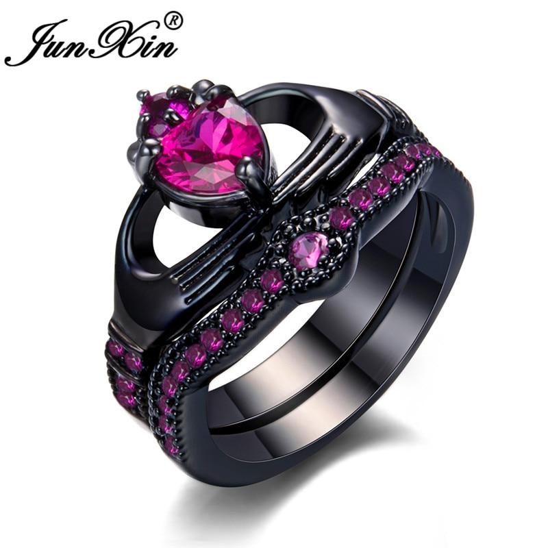 JUNXIN Vintage Heart Ring Sets For Women Black Gold Filled White Black Green Zircon Claddagh Ring Female Male Engagement Ring CZ
