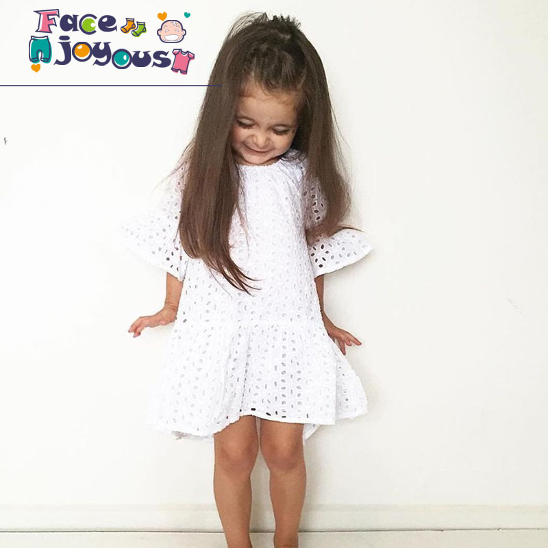 Baby Girl Summer Dress Kids Princess Dresses Toddler Girls White Lace Hollow Designer Dress Baby Fashion Clothes For Girls Dress