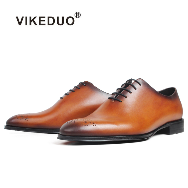 VIKEDUO New Men's Oxford Shoes Patina Round Brogue Wedding Brown Dress Shoe Custom Made 100% Genuine Cow Leather Formal Shoe Men