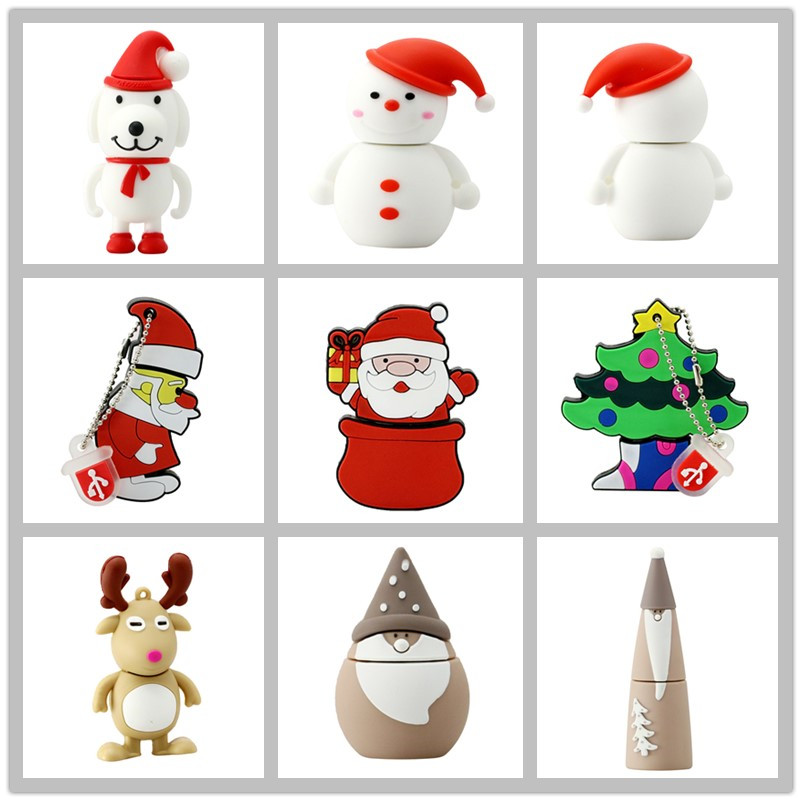 USB 2.0 Stick Pen Drive PenDrive USB Flash Drive Stick 128GB Cartoon Julegave Santa Claus 64GB 32GB 16GB 8GB 4GB
