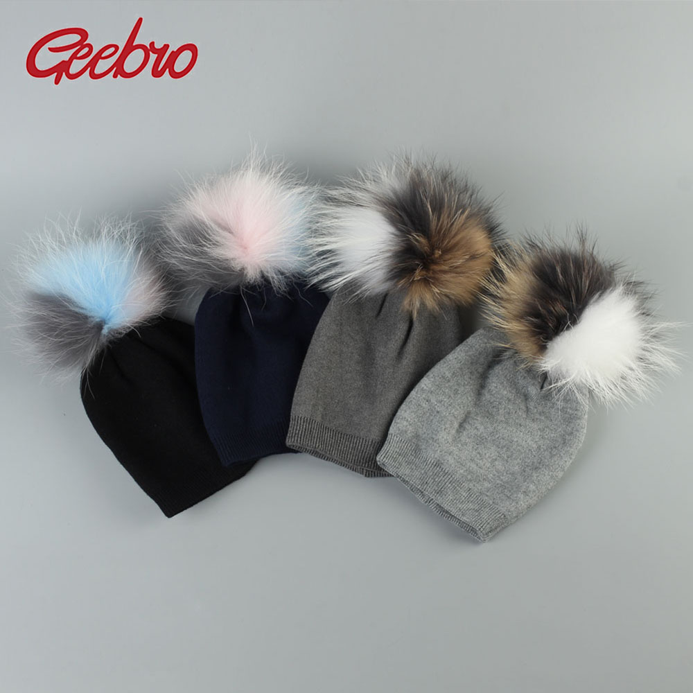 Geebro Baby   Beanie   Hat Autumn Wool   Skullies     Beanies   with Raccoon Fur Pompom Newborn Boys and Girls Slouchy Real Pompon Hat DQ850