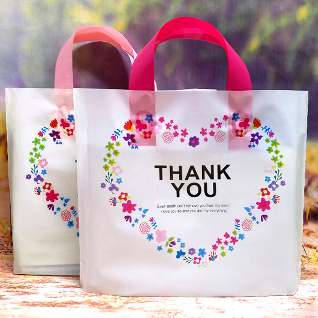 50pcs Lovely Thank You Gift Ping Bag Thicken Plastic Wedding Party Favor Bags