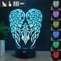 HY Alas Del Cráneo 3D Remoto LED Táctil Luz de La Noche Tabla Cargador de escritorio de La Lámpara 7 Cambio de Color LED USB Multifunción Regalo tarjeta