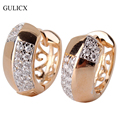 GULICX Luxury Pave Hooped Earrings Gold Plated  CZ Huggie Big Hoop Earring For Women Wedding Decorations E116