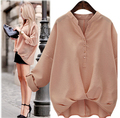 Plus Size New 2016 Summer V-neck Long Sleeve Women Tops Blusas Fashion Casual Loose Blouse Shirt