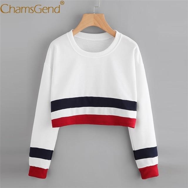 0aac5da8e Chamsgend Hoodies Sweatshirts Women Casual Blue-Red Striped Crop Top Round  Neck Long Sleeve Shirt Sweatshirt 71215
