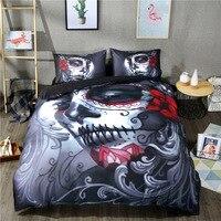 3D Black Skull Bedding Sets Halloween Style Bed Sheets Queen King Double Size Bed Linen Blend Flower Skull Duvet Cover Set