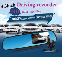 On sale 2015 New High Quality 4.3 inch Full HD 1080P Car Rearview Mirror DVR Car Camera Night Vision Dual Camera Video Recorder