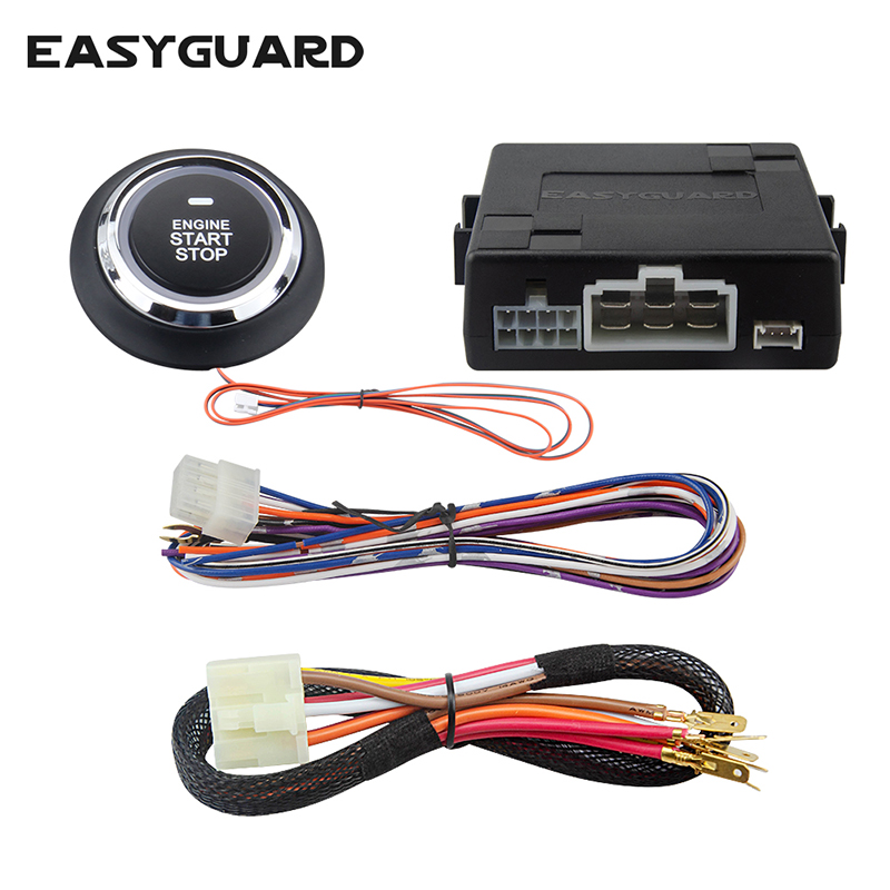 EASYGUARD Push Engine Start Button Kit With Remote Start Optional For Automatic Gear Car Can Work With Original Key Fob DC12V