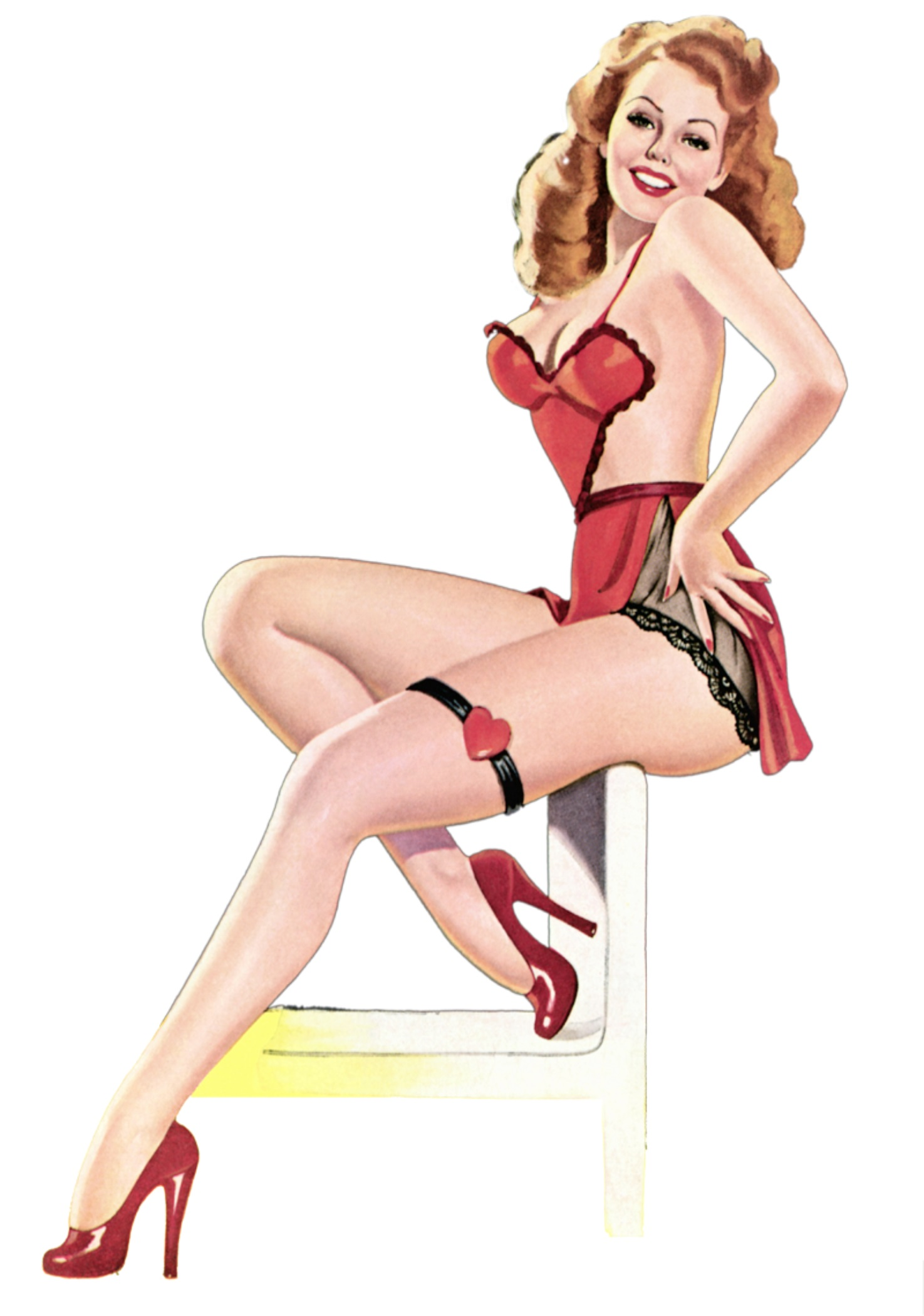sexy red lingerie pin up girl pop map poster classic vintage retro kraft decorative maps wall. Black Bedroom Furniture Sets. Home Design Ideas