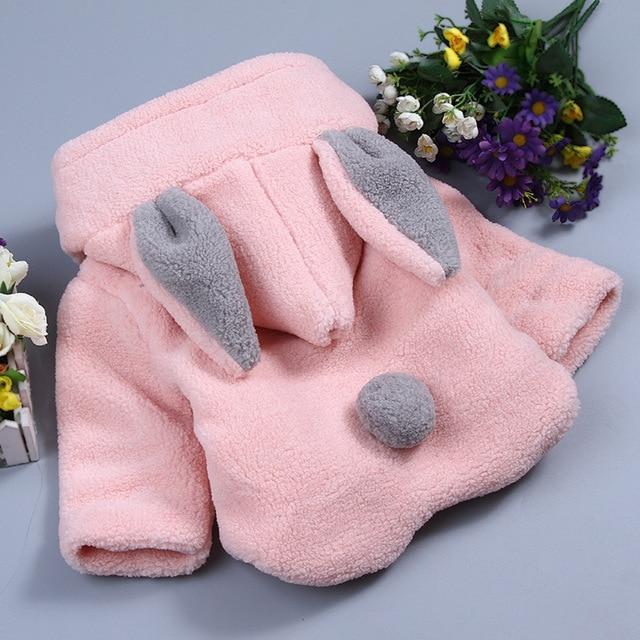 Детская одежда Детские girlscoats Кроличьи Уши Ватные Пальто Детей Хлопка-проложенный Верхняя Одежда ребенка Hoodedcoat теплый ватник YL235