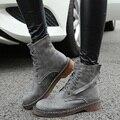 2016 Женщины Мартин Сапоги Британский Кружева Плоские Короткие Обувь Плюс Размер 34-43 Женщина Обуви Сексуальная Зима