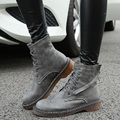 2016  Women Martin Boots British Lace Flat Short Shoes Plus Size 34-43 Woman Shoe Sexy Winter
