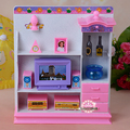 New living room With lights TV set Bookcase play set 30cm doll accessories for barbie doll girls play house toys birthday gift