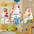Estilo Mediterrâneo miúdos dos desenhos animados led lustre lustres quarto meninos e meninas princesa das crianças