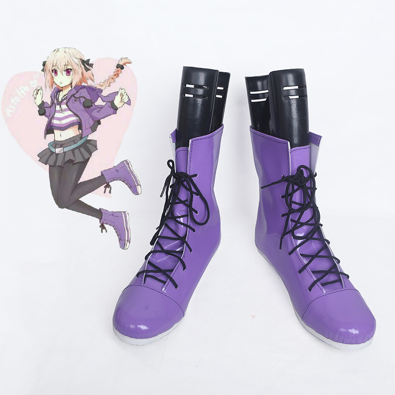 Game Fate/Apocrypha Astolfo Copsplay Shoes Purple Boots New Free Shipping