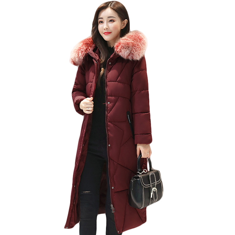 New Winter Jacket Coats 2017 Women Parkas Long Slim Thicken Warm Jackets Female Large Fur Collar Hooded Cotton Parkas CM1649 new women winter cotton jackets long coats hooded fur collar parkas thick warm jacket plus size female slim outerwear okxgnz1072