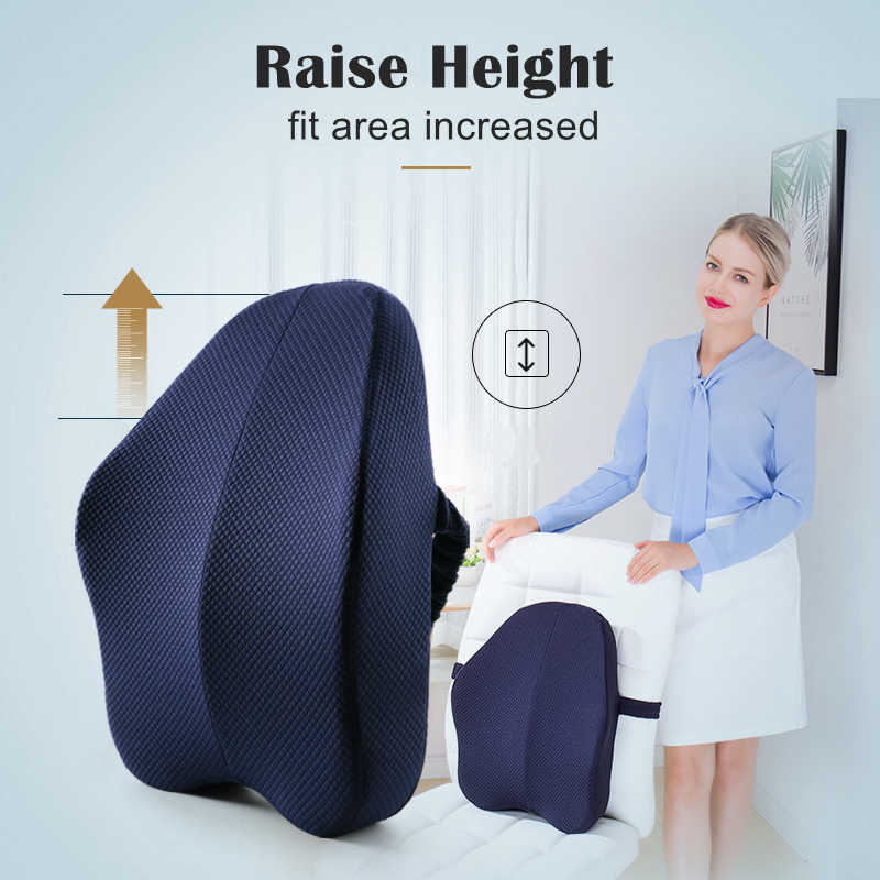Memory Foam Lumbar Support Back Cushion Firm Pillow For Computer Office Chair Car Seat Recliner Lower Back Pain Sciatica Relief