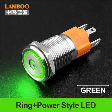 LANBOO производитель 16 мм 12V110V 24V 220V Светодиодный светильник с высоким током 10A мощный фиксатор мгновенный самоблокирующийся кнопочный переключатель - Цвет: Green  LED Power