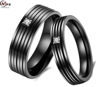 2pcs Pair Couple His And Hers Promise Ring Sets Cubic Zirconia Inlaid Stripe 316l Stainless Steel