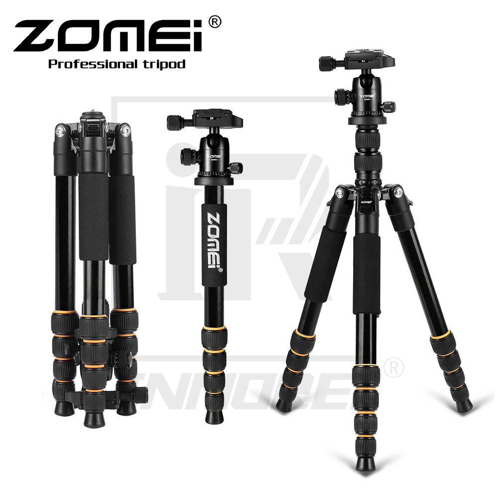 New ZOMEI Q666 Professional Aluminium Alloy Tripod Kit Monopod Ballhead For Travel DSLR Camera Light Compact Portable Stand