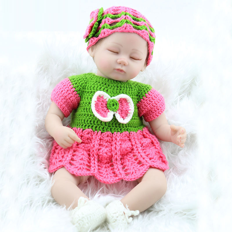 Pursue 45 cm Twin Sisters Open Eyes Close Eyes Reborn Bebe Dolls 18 Inch Dolls Silicone Limbs Cotton body Toys For Children