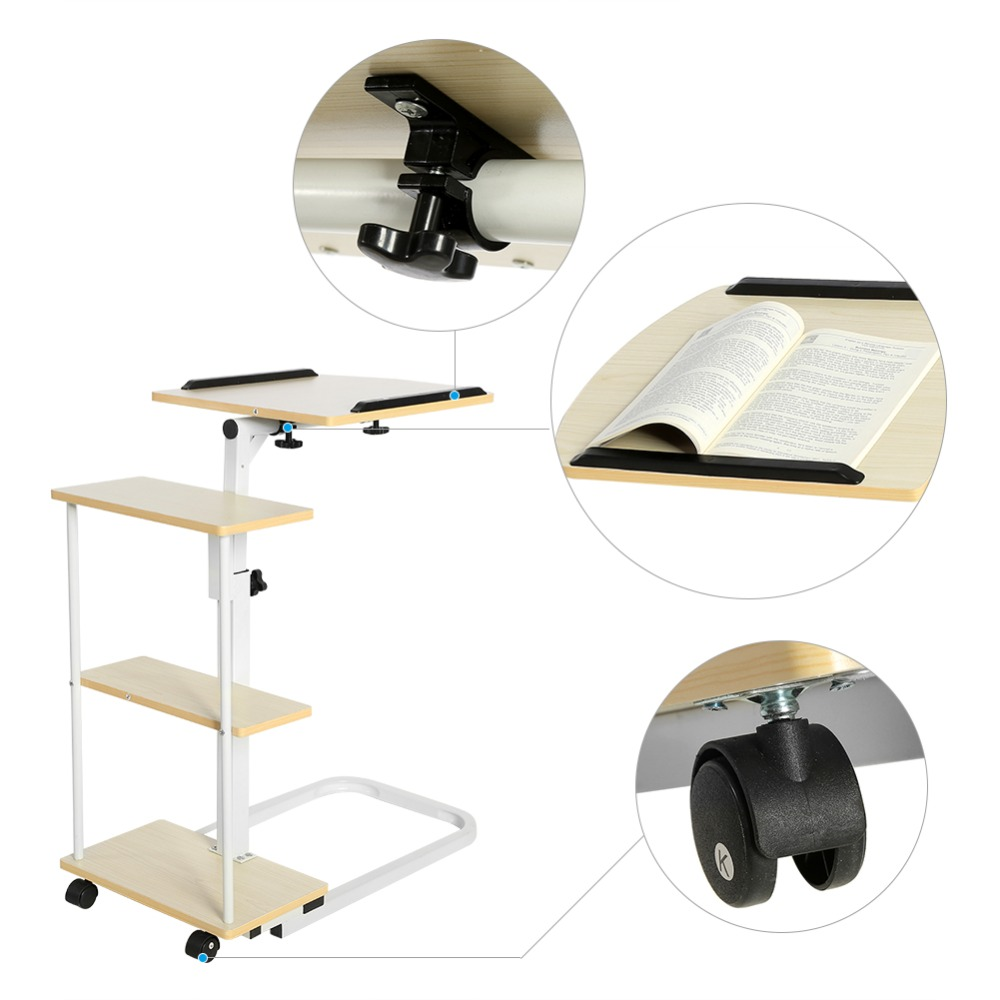Multi-function Height Adjustable Overbed//Sofa Table Laptop Cart Computer Desk US