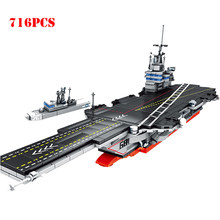 716pcs Military US Nimitz-Class Aircraft Warship Building Blocks Navy Soldier Figures World War Technic Bricks Child Toys Gifts(China)