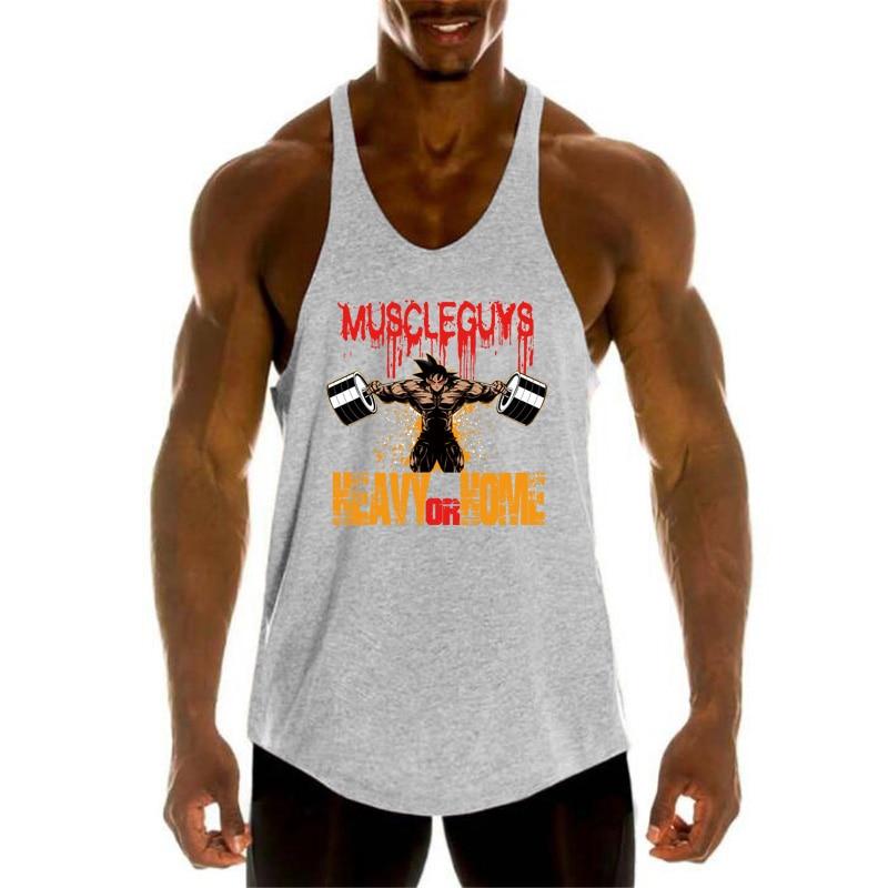 Bodybuilding Dragon Ball Gyms Tank Top Men Fitness Clothing Super Saiyan Goku Cotton O-Neck Sleeveless Shirt Men Stringer vest