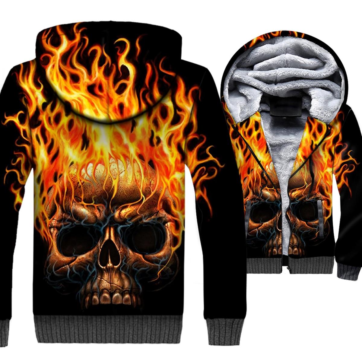 Пламя Череп 3D печати балахон Для мужчин хип-хоп Прохладный Толстовка с капюшоном зимние толстые теплые флисовые на молнии пальто куртка Гот...