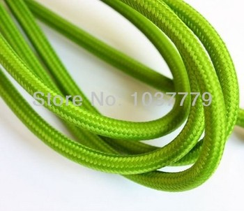 30meters/lot light green color vintage twist textile cable double-pole cord with fabric cover