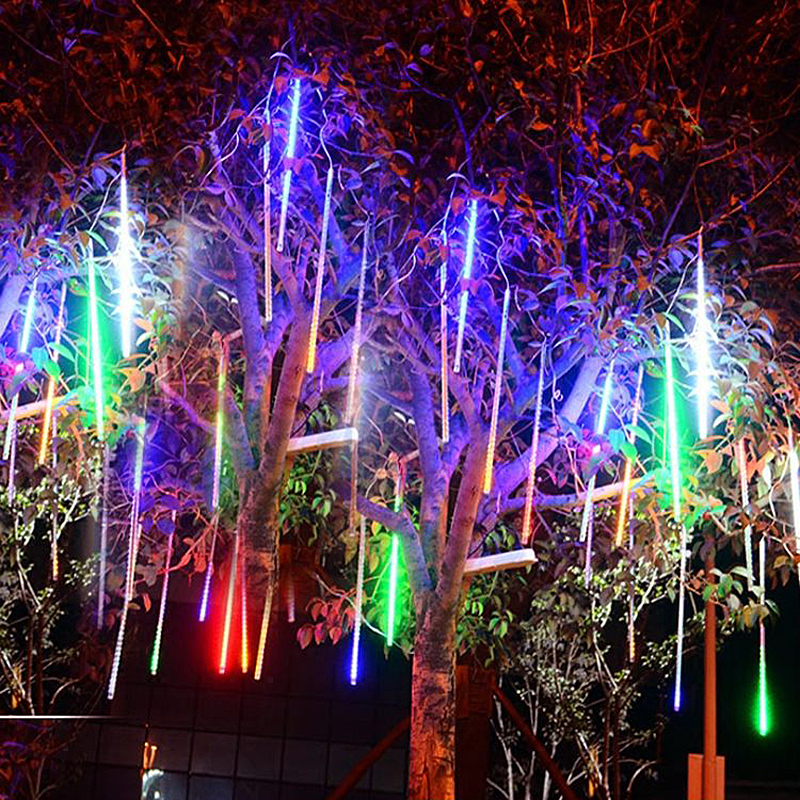 Connectable 20cm 30cm 50cm 8 Tubes SMD Meteor Shower Rain LED String Lights Waterproof For Home Outdoor New Year Christmas Tree