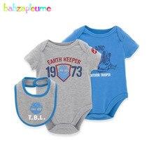 babzapleume Brand 0-6M Newborn Baby Twins Rompers Boys Infant Clothing Short Sleeve Girls Jumpsuit 3pcs/Set Child Clothes BC1040