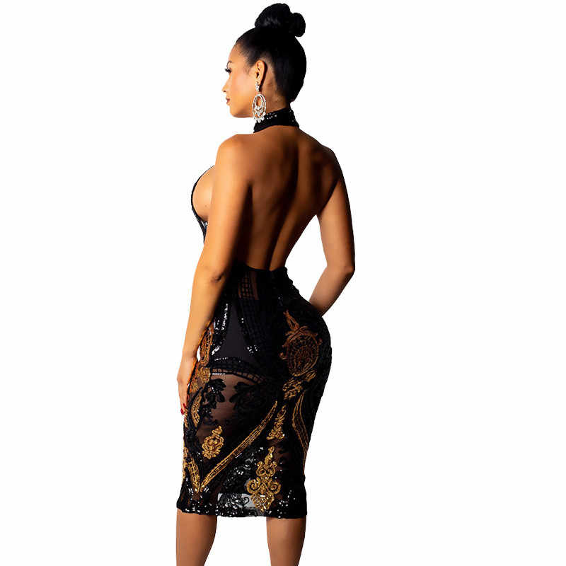 ... Sexy Sheer Mesh Black Sequin Dress Women Elegant Open Back Night Club  See Through Dress Backless ... 3f312c97ccbd