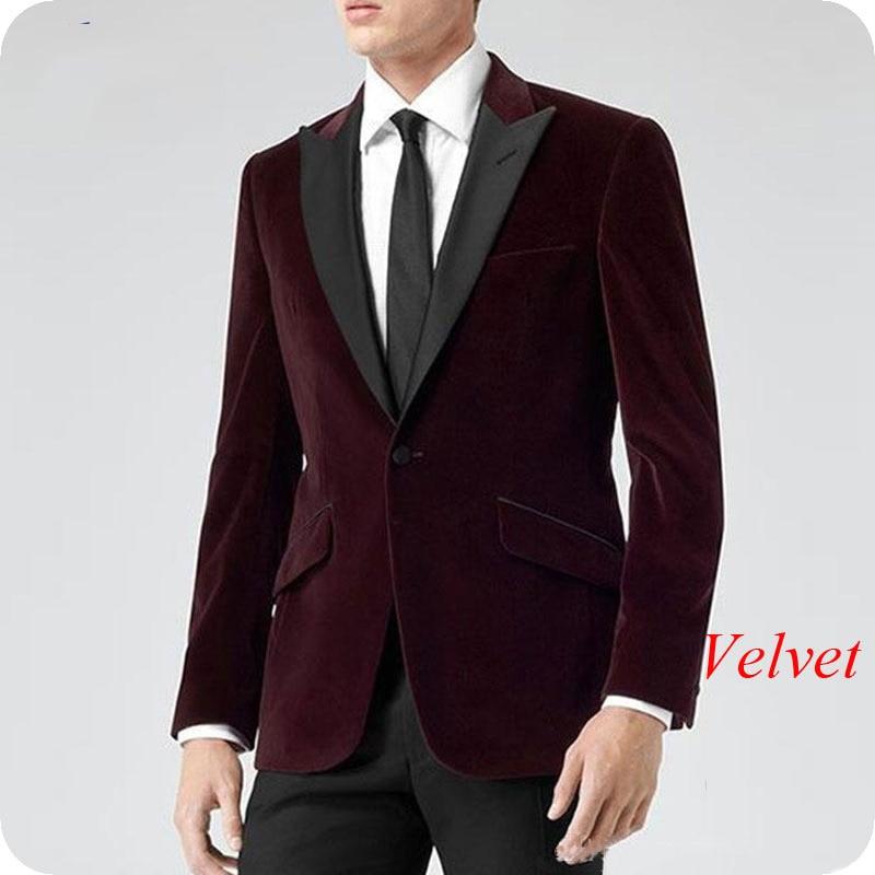 Wine Red Velvet Men Blazer Burgundy Classic Wedding Suits 2019 Smoking Jacket Groom Tuxedo 2Piece Coat Pants Terno Masculino