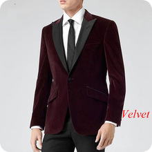 Wine Red Velvet Men Blazer Burgundy Classic Wedding Suits 2019 Smoking Jacket Groom Tuxedo 2Piece Coat Pants Terno Masculino