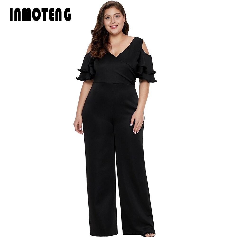 INMOTENG Women Long Wide Leg Jumpsuit Plus Size V Neck Ruffle Jumpsuit Elegant Cold Shoulder Overalls Club Sexy Romper XL 5XL
