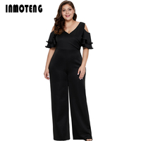 INMOTENG Women Long Wide Leg Jumpsuit Plus Size V Neck Ruffle Jumpsuit Elegant Cold Shoulder Overalls Club Sexy Romper XL 5XL