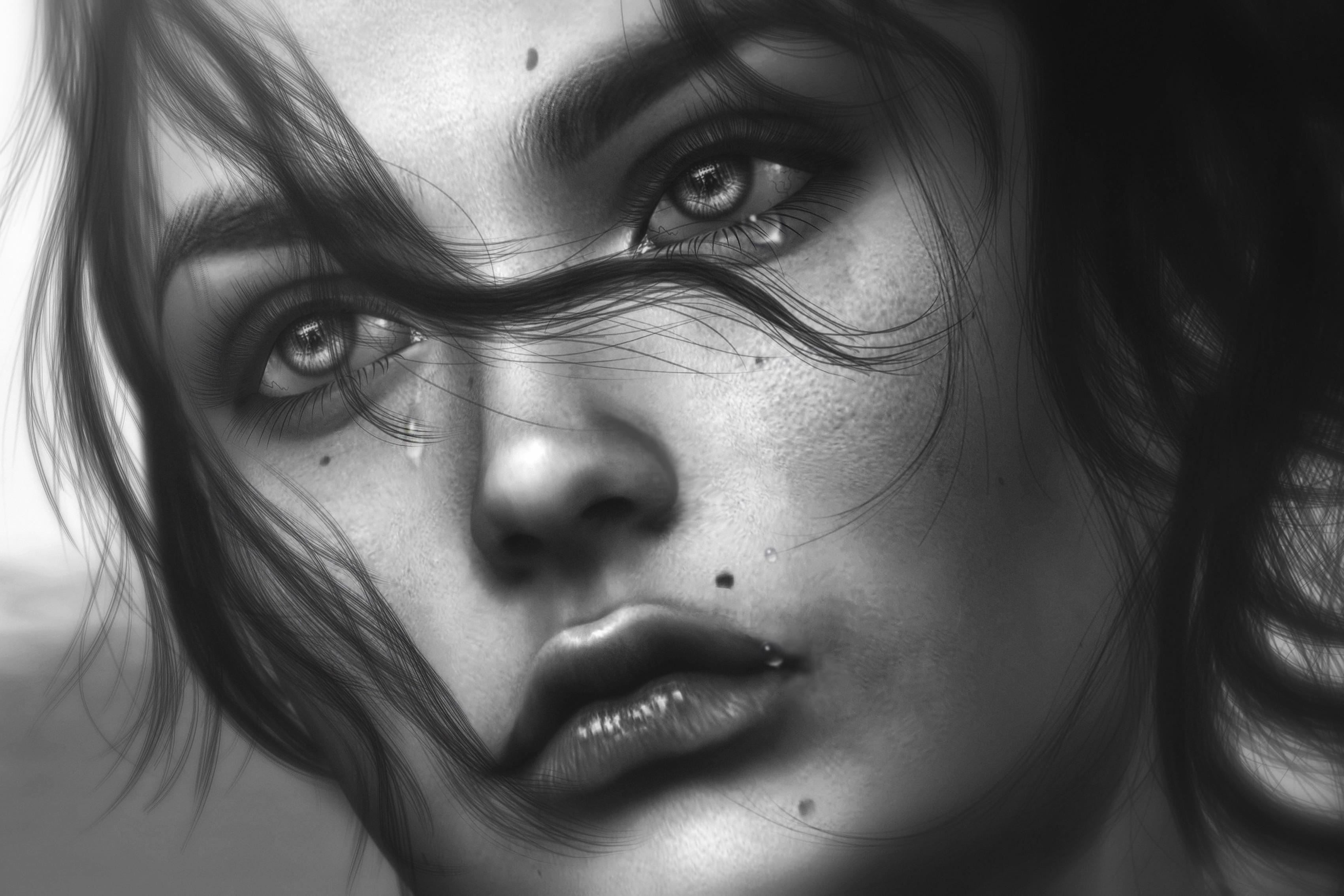 Hair Face Sadness Tears Girl Sadness Portrait Living Room -7498